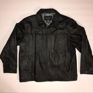 Architect black leather full zip jacket sz XL